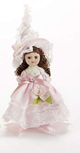 Porcelain Antique Legs Dolls - Delton Products 6.5 inches Porcelain Pink Flower Fairy Home Decor
