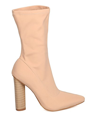 CAPE ROBBIN GK63 Women Fabric Mid-Calf Pointy Toe Chunky Heel Boot Nude J5rXOz9