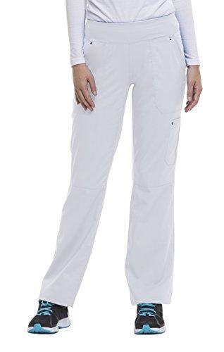 healing hands Purple Label Yoga Women's Tori 9133 5 Pocket Knit Waist Pant Scrubs- White- X-Large Tall -