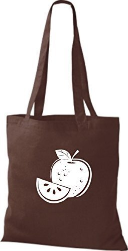 ShirtInStyle Bolso de tela Bolsa de algodón Tu Favorita frutas y hortalizas manzana - Fucsia, 38 cm x 42 cm Marrón