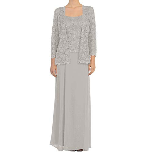 Mother of The Groom Gowns A Line Mother Gowns Two Piece Evening Dress Silver