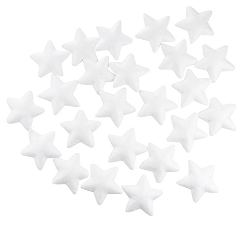 Craft Foam Stars - 24-Piece Star-Shaped Polystyrene Foam for Arts and Craft Use - Makes DIY Ornaments and Decorations, White, 3.25 x 0.5 x 3.25 inches