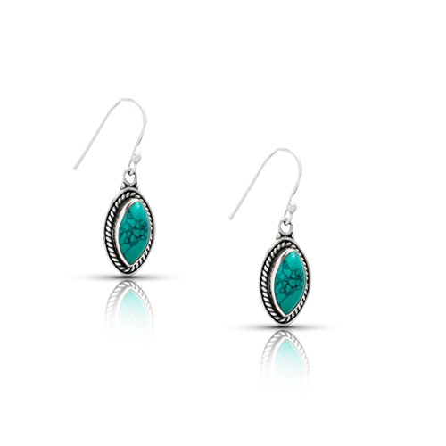 Koral Jewelry Synthetic Turquoise Drop Dangle Earrings Sterling Silver 925 Gipsy Boho Chic Ethnic Vintage Look ()