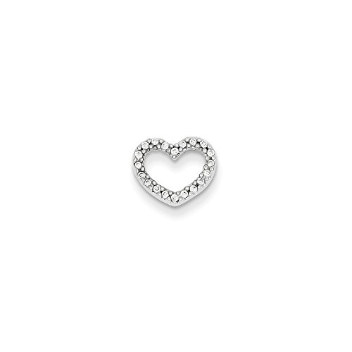 Roy Rose Jewelry 14K White Gold 0.08-Carat tw Diamond Heart Slide Pendant (Tw Heart Ct 0.08)