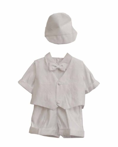 White Christian Baby Boy Tuxedo Suit, Vest, Shirt, Bowtie, Short Pants, Hat