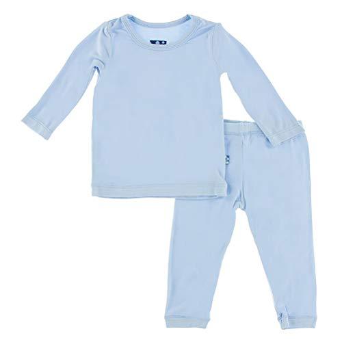 Kickee Pants Basic Pants - Kickee Pants Big Boys' Basic Long Sleeve Pajama Set in Pond, 7Y