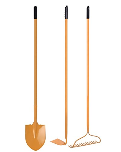KYLIN 3 Pieces Garden Tools Set – Round Point Shovel, One Piece Forged Garden Hoe and 14T Garden Bow Rake with 48 Inch Long Handle - Rake Set