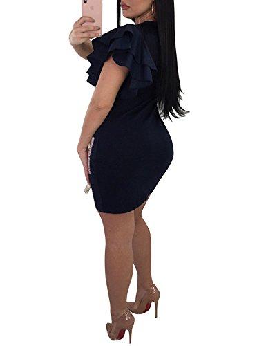 Adogirl Sexy Des Femmes De Bande Dessinée Imprimé Col Rond Ouvert Épaule Chemise À Manches Courtes Lâche Jupe Courte Robe Une Pièce Noire
