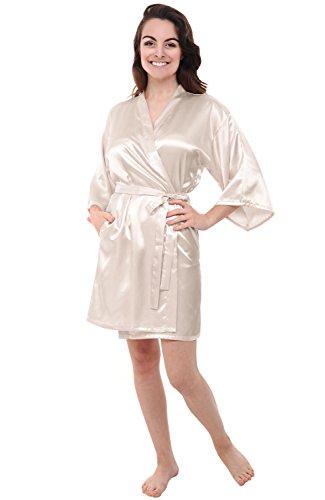 Alexander Del Rossa Womens Satin Robe, Mid-Length Dressing Gown, Medium Biscotti (A0747BISMD)
