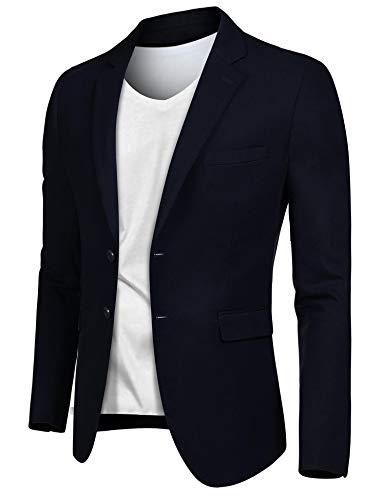 JINIDU Men's Slim Fit Tweed Suit Blazer Jacket Two Button Casual Sport Coat