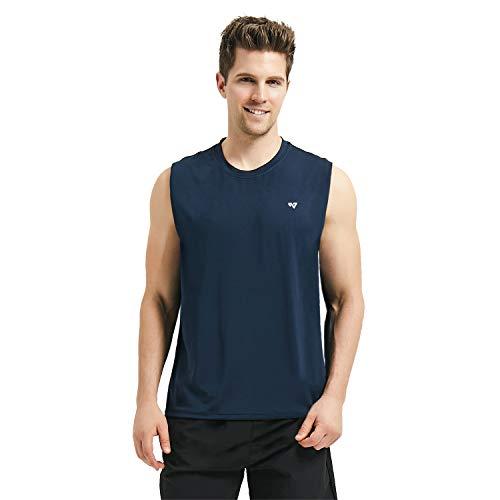 Roadbox Men's Performance Sleeveless Workout Muscle Bodybuilding Tank Tops Shirts (Blue, S) (Shirt Sleeveless Tech)