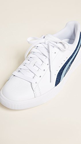 Puma Kvinna Clyde Denim Läder Sneakers Puma Vit