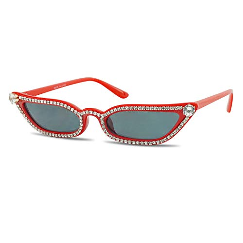 SunglassUP Rhinestone Studded Elegant Jeweled Oval Vintage Cat Eye Sunglasses Women Diamond Shades (Red Frame | Black)