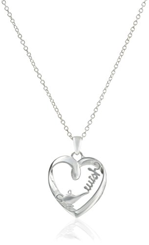 """Disney Sterling Silver Open Heart with """"Wish"""" and Genie L..."""
