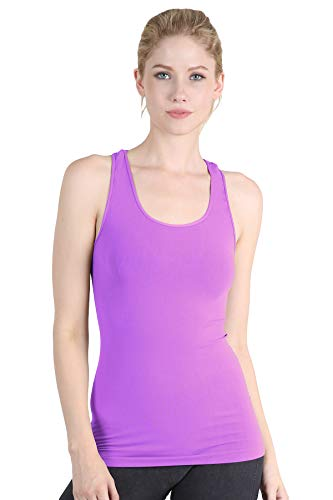 (NIKIBIKI Women Seamless Plain Jersey Smooth Racerback Tank Top, One Size (Sweet Lilac))