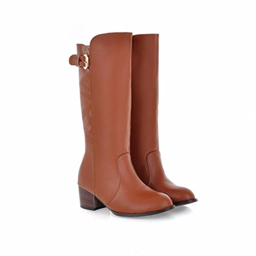 RFF-Women's Shoes Autumn girl student Knight high boots belt buckle boots fashion with boots Brown (Terry)