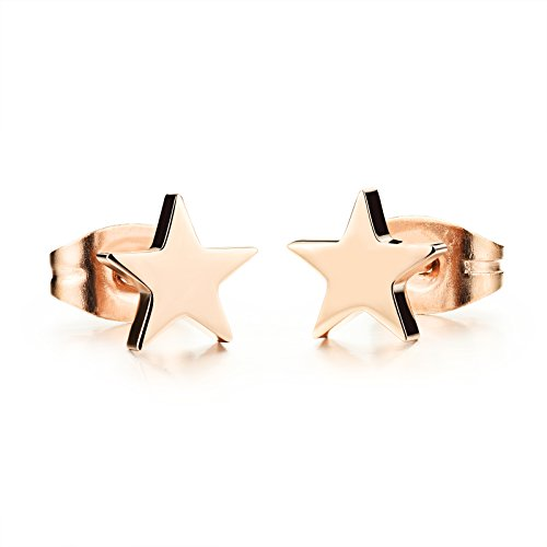 (Titanium Stainless Steel Charming Simple Star Stud Earring with a Gift Box and a Free Small Gift)