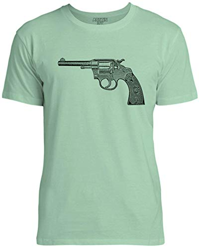 Austin Ink Apparel Old Police Revolver Unisex Womens Soft Cotton Tee, Mint Green, Medium