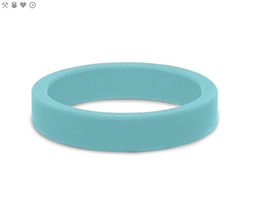 QALO Women's Blue Aquamarine Smooth Stackable Silicone Ring Size 05