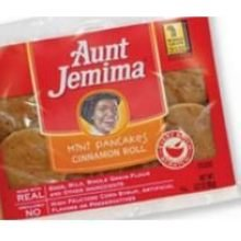 Aunt Jemima Whole Grain Mini Cinnamon Roll Pancake, 3.2 Ounce - 72 per case.