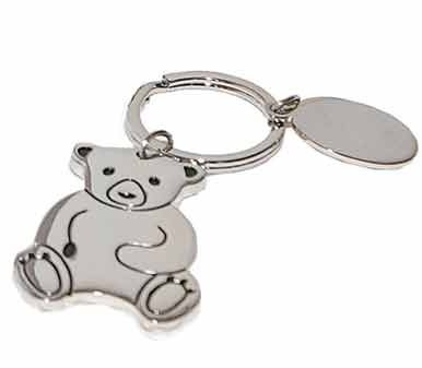 Silver Teddy Bear Key Ring Baby Shower Party Favor Gift Set of 6
