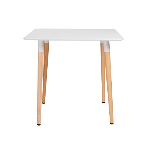 Eurø Style 17698WHT-KIT Rufus Dining Table, White and Beech