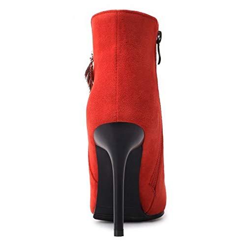 Talons Boucle Rouge Femmes Boots Taoffen Cheville Hauts 1 Bottines Pointu O1Ixq7