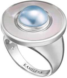 Kameleon White Mother of Pearl Ring Size 9 * Jewelpop Authentic Silver New KR25size 9