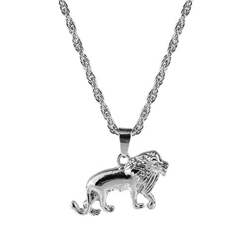 Women Men Silver Tone Lion Animal Pendant Metal Chain Necklace Gifts Jewelry
