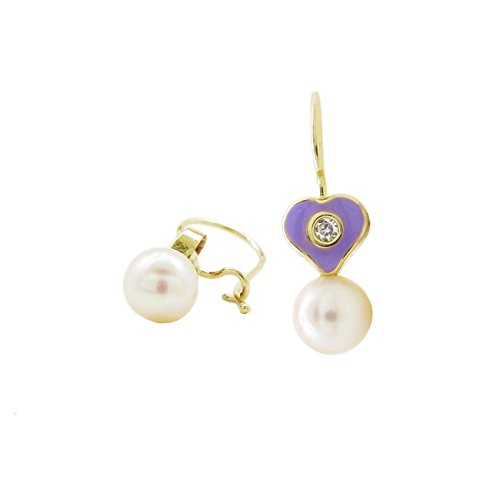 Icedtime 14K Yellow gold Heart and pearl hoop Small Earrings web51