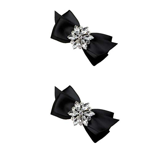 (Douqu Rhinestone Crystal Wedding Bridal Shoe Bow Boots Clips detachable shoes buckle Shoe Decoration Charms Pair Jewelry (Black))