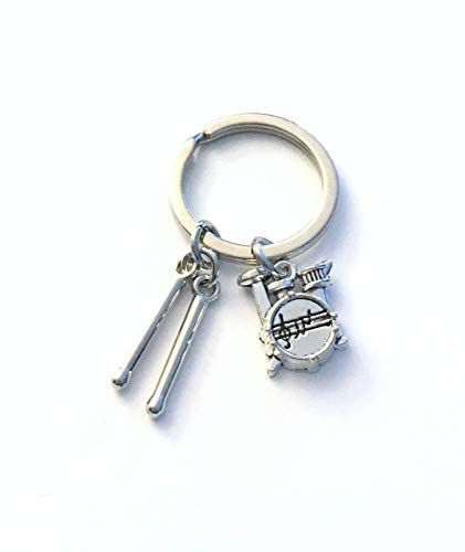 (Drum Keychain, Drummer's Key Chain, Gift for Percussionist or Music Teacher - Drumstick and Drumkit charms )