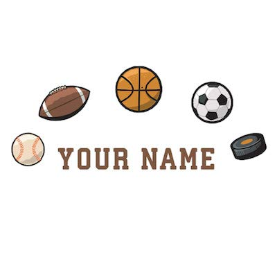 Oliver's Labels Personalized Kids Name Wall Decal Sports (Roommates Wall Decals Soccer)