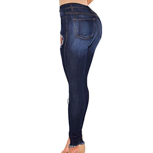 Femmes Rise Slim Cass Bleu Butt Dames Mode S Sexy Taille Petits Pieds Pantalon Pantalon Fonc 3XL Bleu Denim Fit Dchir Faible Trou Jeans D't Skinny vgranWrY
