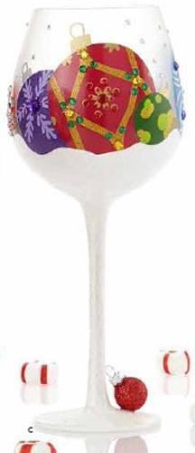 LOLITA BIG WINE GLASS SNOW ORNAMENTS (Wine Lolita Glass Ornament)
