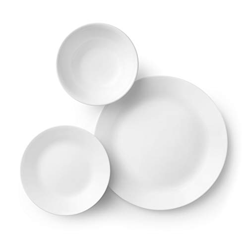 Corelle Service for 6, Chip Resistant, Winter Frost White Dinnerware Set, 18-Piece Salted Salad
