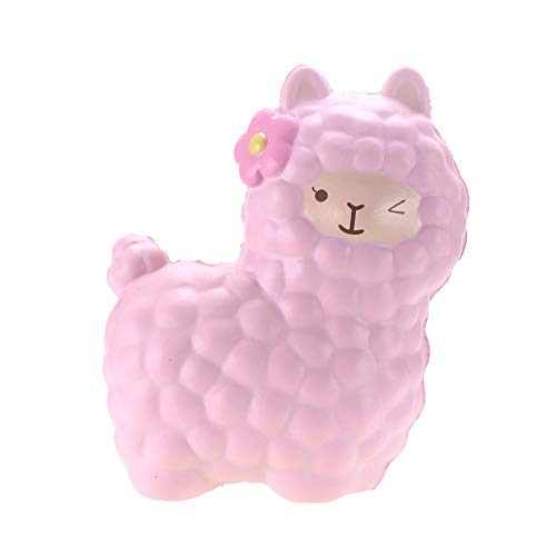 VLAMPO Squishies Alpaca Toys, Llama Squishy Slow Rising Stress Relief Toys Jumbo Squishies Squeeze Scented Fragrant Decoration Toys for Kids&Adults 6.5(Pink)
