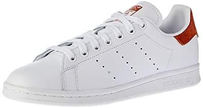 Adidas, Stan Smith Shoes, Unisex Shoes, White/White/Fox Red, 4 US Men / 5 US Women