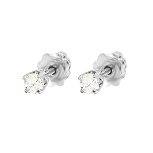 0.12 Carat Natural Diamond 14K White Gold Solitaire Stud Earrings for Women (Natural Ct 0.12)