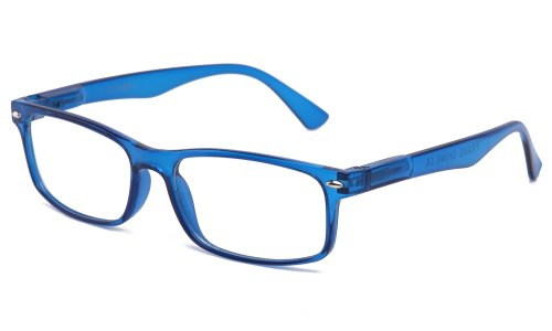 Newbee Fashion - Unisex Translucent Simple Design No Logo Clear Lens - Glasses Frames Blue