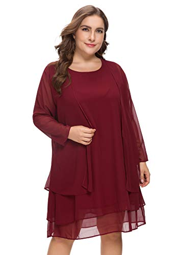 MERRYA Women's Plus Size Business Chiffon Jacket Mother of The Bride Dress Suit (Wine Red, 3X ()