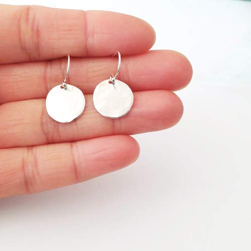 (Sterling Silver Hammered Disc Earrings)