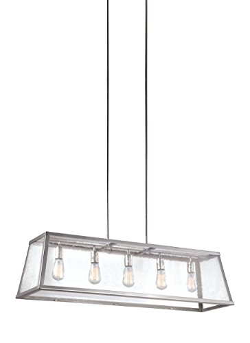 """Feiss F3073/5PN Harrow Island Chandelier Lighting with Glass Shades, Chrome, 5-Light (44""""L x 13""""H) 300watts from Feiss"""