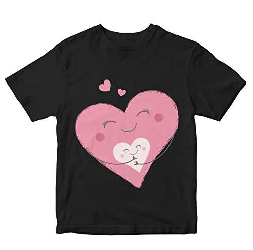 Heybroh Girls' Regular Fit T-Shirt Momma Heart with Baby Heart 100% Cotton Girl's Boy's Unisex Fit T-Shirt