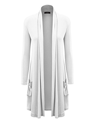 MBJ Womens Solid Long Cardigan with Pockets L White ()