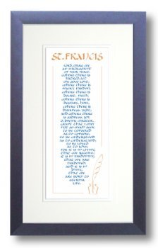 image relating to St Francis Prayer Printable identify Relaxation Prayer of St. Francis, Framed Calligraphy Print, 8x14 Cobalt Blue Body, Double Product mats