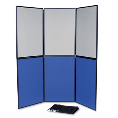 ShowIt Six-Panel Display System, Fabric, Blue/Gray, Black PVC Frame, Sold as 1 - Display System 6 Panel