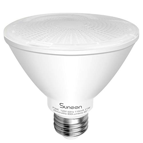 SUNEON Par30 Led Bulbs Short Neck 2700k #Wet Location# Warm White Dimmable Spotlight- 11w 75w Equivalent Par30s 40° Beam Angle - 120v E26 Ul-listed