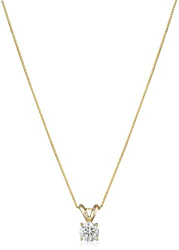 IGI Certified 14k Yellow Gold Lab Created Solitaire Pendant Necklace (1/2cttw, I-J Color, SI1-SI2 Clarity), 18""