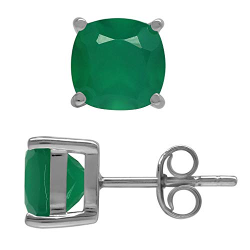 (2.66ct. 7MM Natural Cushion Shape Emerald Green Agate 925 Sterling Silver Stud Earrings )